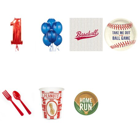Party Baseball - Baseball 1st birthday party supplies pack for 16