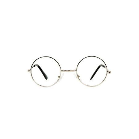 Circular Frame Clear Lens Silver Frame Sunglasses w/ Free Microfiber Case - image 1 de 2