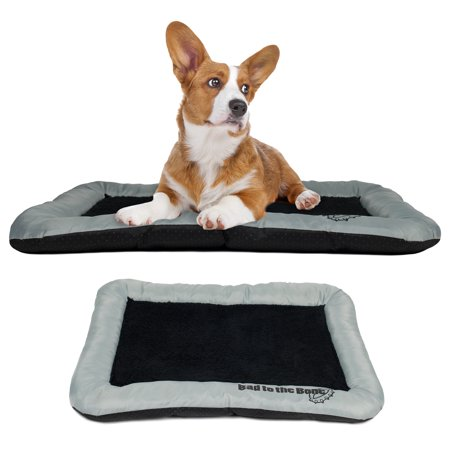 dog crate pad bolster bed pet mat fleece 36 x 23 large gray and