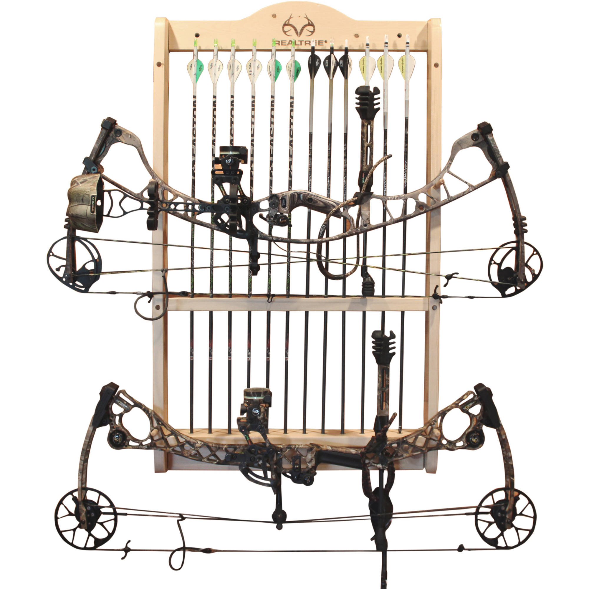 Rush Creek Creations REALTREE 2 Compound Bow 12 Arrow Wall Storage Rack