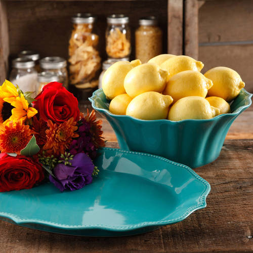 "The Pioneer Woman Paige 2-Piece Serving Set with 10"" Serving Bowl and 14"" Serving Platter, Glaze Stoneware"