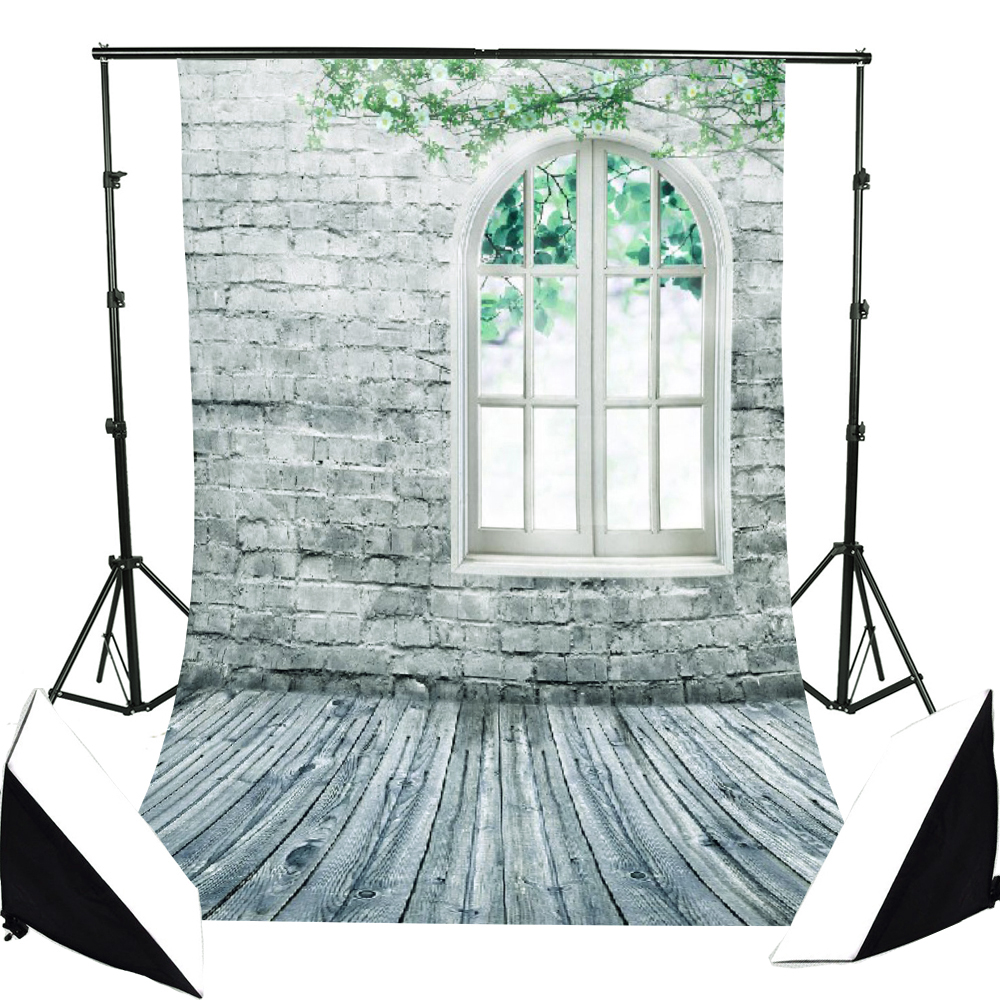 NK HOME Studio Photo Video Photography Backdrop 5x7ft Fresh Style Green Brick Window Scenic Printed Vinyl Fabric Background Screen Props