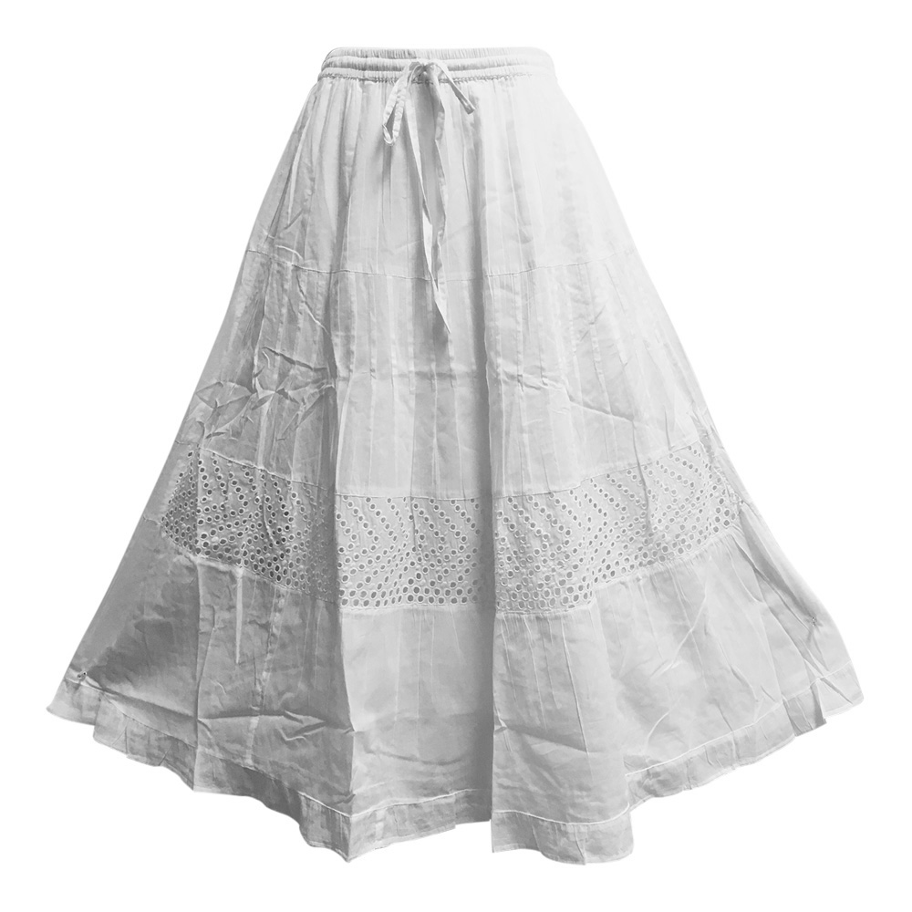 White Embroidered Eyelet Tiered Indian Fine Gauze Cotton Long Maxi Skirt (Small, JK4)