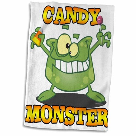 3dRose Cute Silly Candy Monster Cartoon for Halloween - Towel, 15 by 22-inch - Cute Halloween Monsters