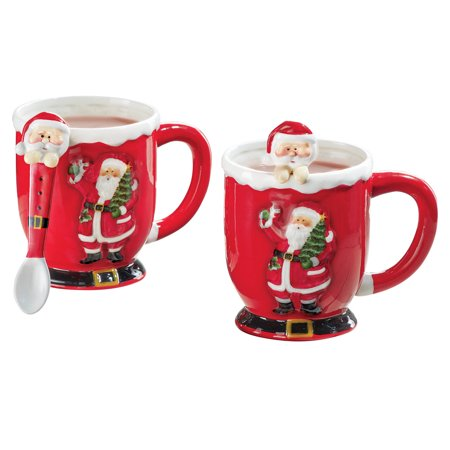 Cheerful Red Christmas Santa Mugs with Spoons - Set of 2, Holiday Accent Serveware, Hand Painted - Halloween Entertaining Serveware