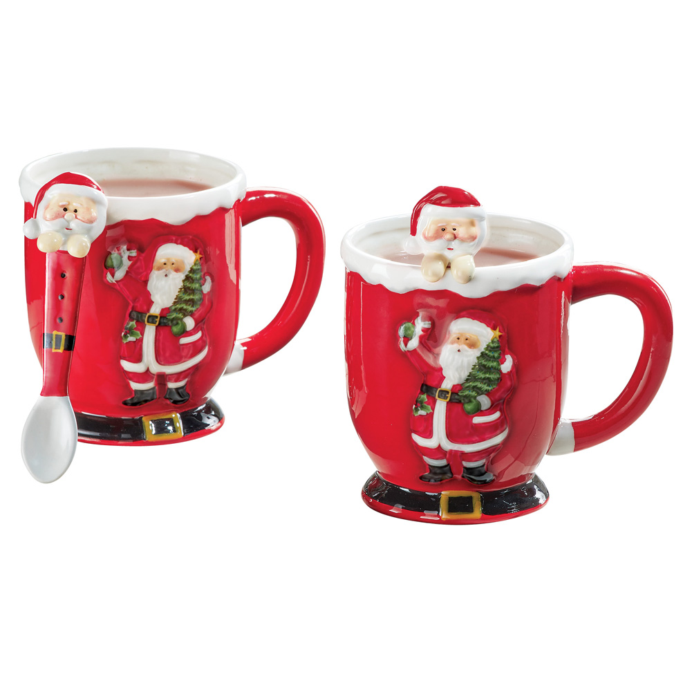 Cheerful Red Christmas Santa Mugs with Spoons - Set of 2, Holiday Accent Serveware, Hand Painted