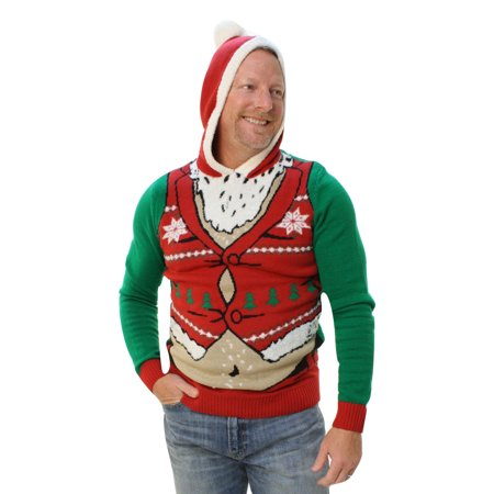 Ugly Christmas Sweater Men's Fat Santa Hooded Pullover Sweatshirt - Ugly Christmas Sweaters For Kids