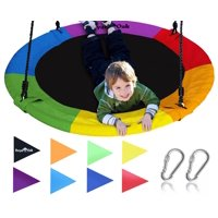Royal Oak Giant 40 Inch Flying Saucer Tree Swing, Bonus Protective Swing Cover and Flags, 700 lb Weight Capacity, Easy Install, Steel Frame Rainbow