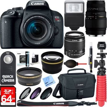 Canon Eos Rebel T7i Dslr Camera With Ef S 18 55mm Is Stm 70 300mm Lens 64gb Class 10 Uhs 1 Sdxc Memory Card Accessory Bundle