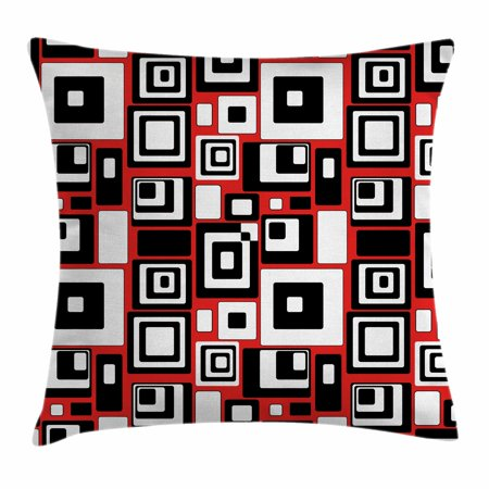 Abstract Forms (Abstract Throw Pillow Cushion Cover, Minimalist Geometric Figures Retro Rectangle Forms Nostalgia Artful Print, Decorative Square Accent Pillow Case, 16 X 16 Inches, Red Black White, by)