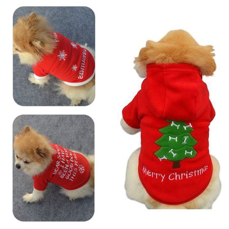 Spencer Pet Dog Cat Christmas Jacket Coat Puppy Clothes Xmas Costume Winter Sweater - Christmas Pet Costumes