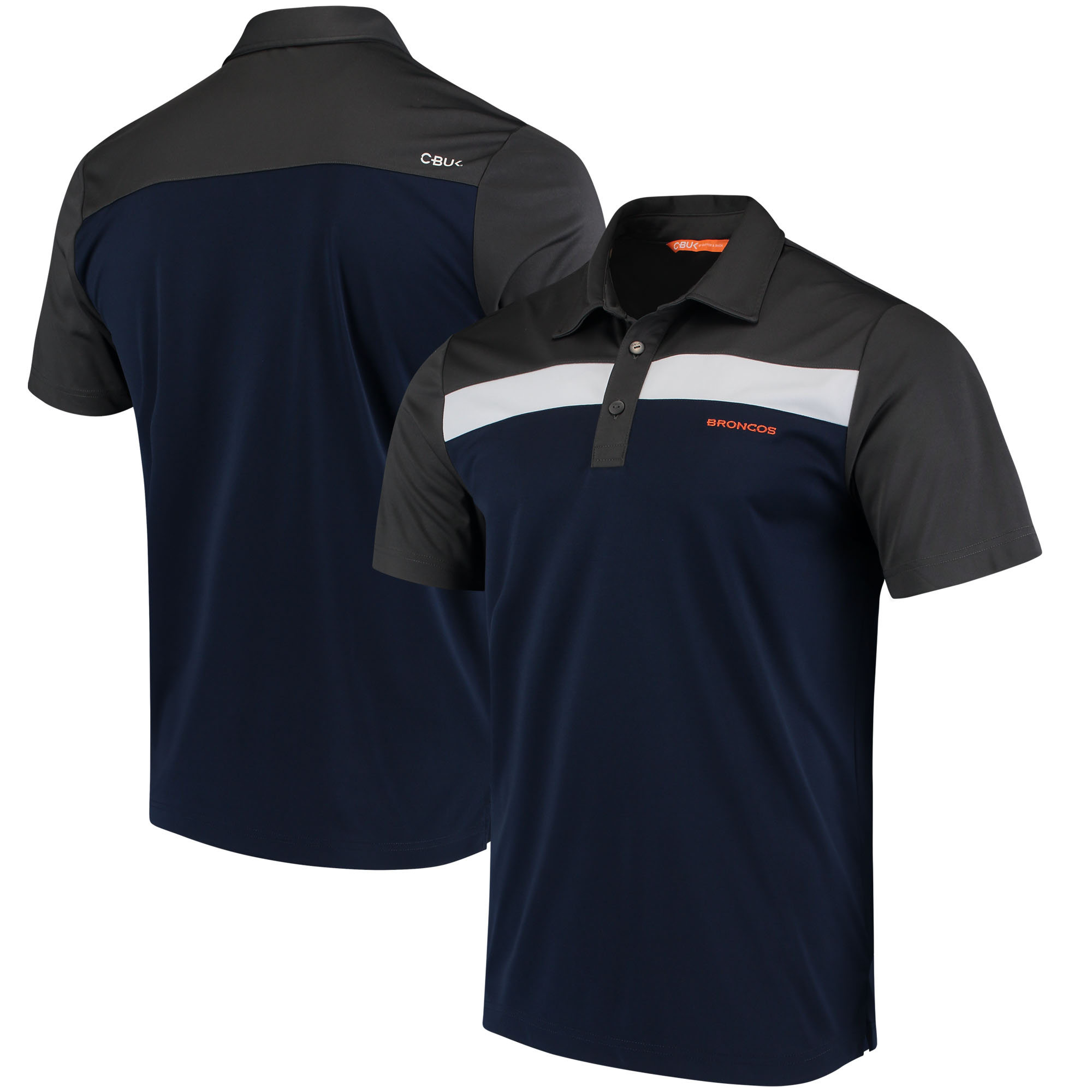Denver Broncos CBUK by Cutter & Buck Chambers Polo - Charcoal/Navy - M