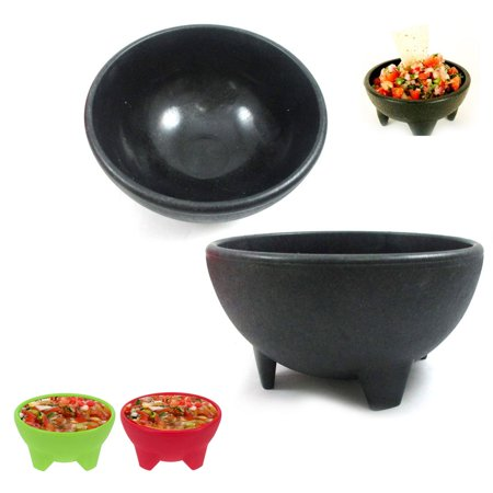 2 Pc Salsa Bowls Plastic Mexican Molcajete Chips Guacamole Bowls Serving (Chirp Dish)