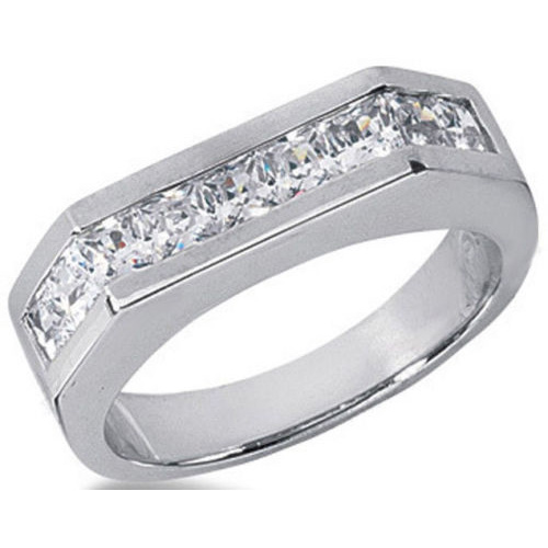 1.53ct Princess Cut 9 Diamond Wedding Anniversary Band, Size 6, Channel Set, 0.17ct each Platinum by