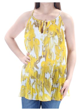 d2ff0fe91e693 Product Image INC Womens Yellow Accordion Pleated Floral Spaghetti Strap  Scoop Neck Top Size  M