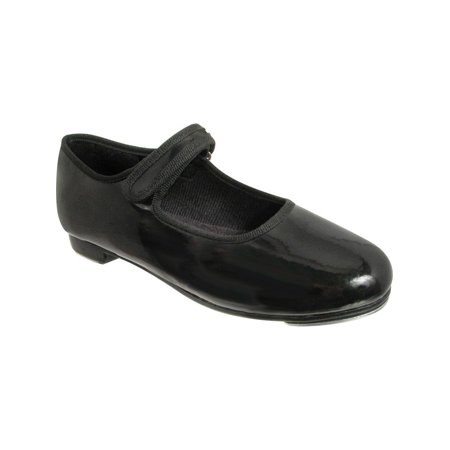 Girls Black Patent Hook And Loop Mary Jane Tap Shoes 12.5-4 Kids for $<!---->