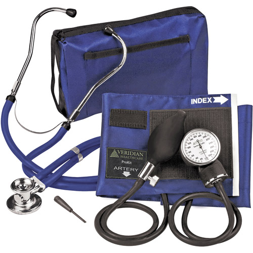 Veridian Healthcare Sterling ProKit Audult Aneroid Sphygmomanometer w/ Sprague Sthethoscope, Royal Blue