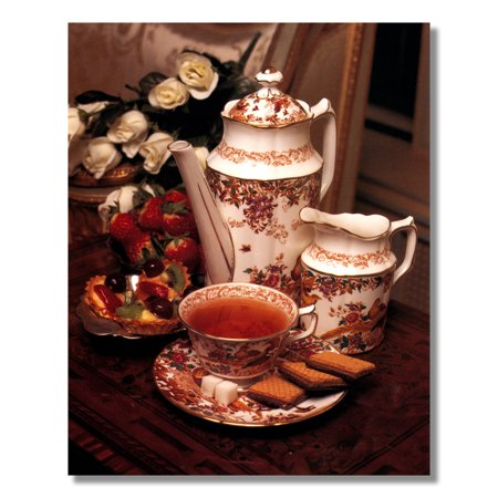 - Strawberries and Fruit with Tea Pot Setting Photo Wall Picture 8x10 Art Print