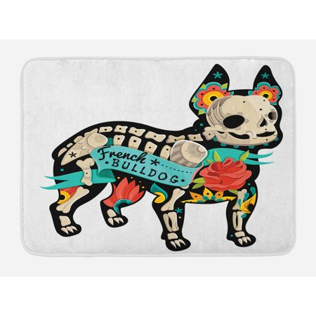 Bulldog Bath Mat, Gothic Artwork Puppy Silhouette with Skeleton and Colorful Flowers French Bulldog, Non-Slip Plush Mat Bathroom Kitchen Laundry Room Decor, 29.5 X 17.5 Inches, Multicolor, Ambesonne](Puppy Skeleton)