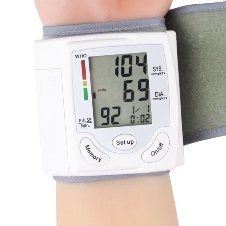 LCD Digital Wrist Blood Pressure Heart Rate Beat Pulse Systolic Accurate Monitor in