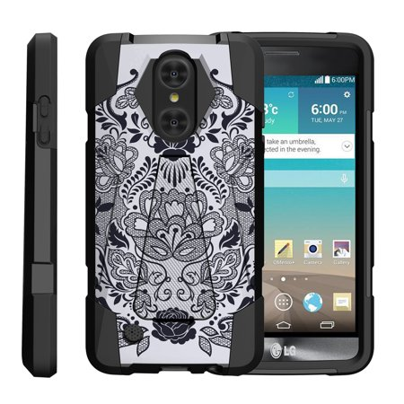 TurtleArmor ® | For LG LV3 | Aristo | K8 | Phoenix 3 M150 | Fortune M153 | Risio 2 | K4 | Rebel 2 [Dynamic Shell] Dual Layer Hybrid Silicone Hard Shell Kickstand Case - Lotus Flower
