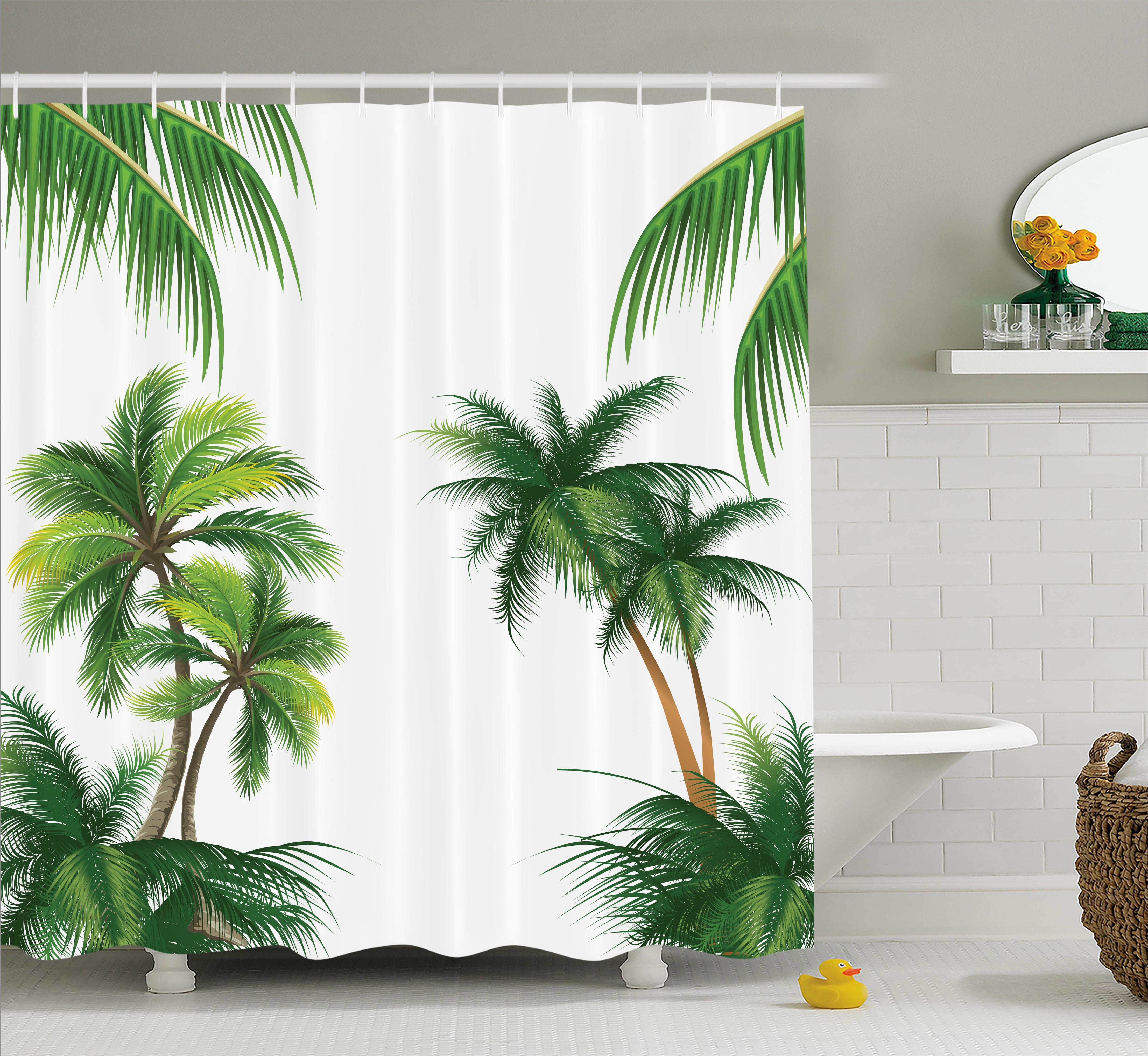 Tropical Shower Curtain, Coconut Palm Tree Nature Paradise Plants Foliage  Leaves Digital Illustration, Fabric