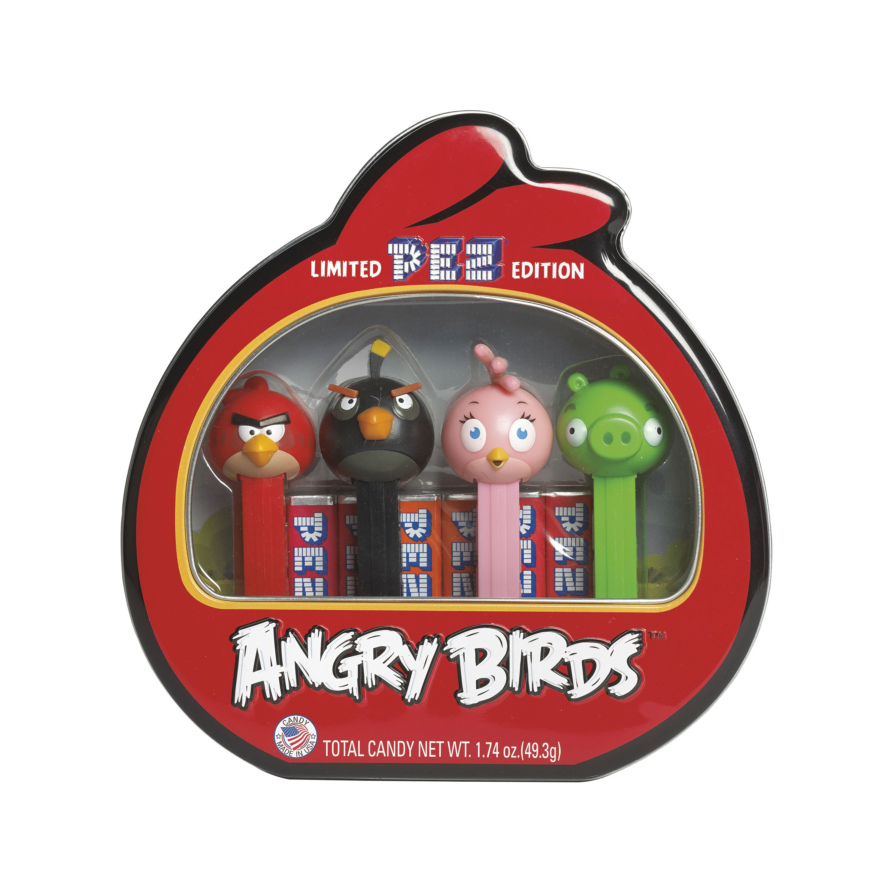PEZ Candy Angry Birds Gift Tin with 4 Candy Dispensers + 6 Rolls of Candy