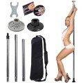 Portable Stripper Exercise Fitness Club Dance Pole Full Kit - Silver
