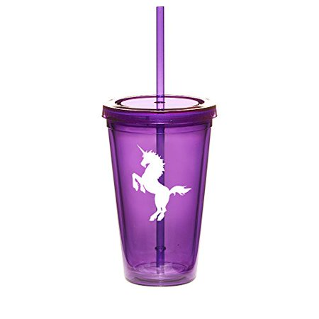 16oz Double Wall Acrylic Tumbler Cup With Straw Unicorn (Purple)