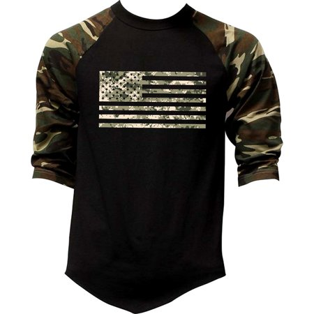 Men's Digital Camo Flag US Army Tee Black/Camo Raglan Baseball T-Shirt Large - Baseball Shirt Raglan Shirt