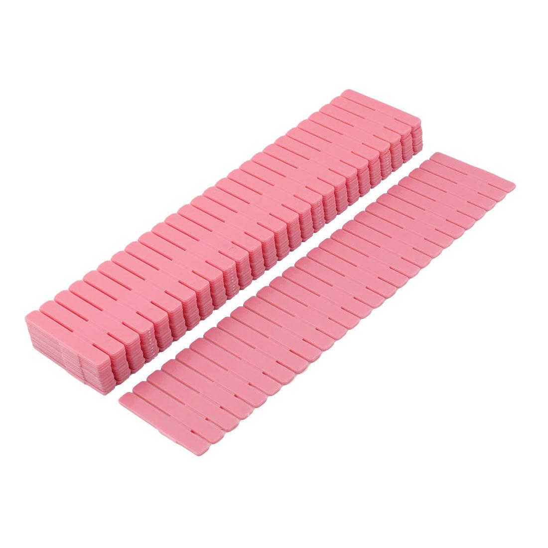 Household Plastic Adjustable Separator Long DIY Drawer Dividers Pink 12 Pcs
