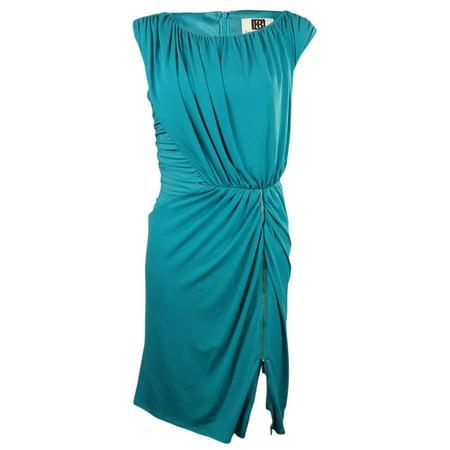 Cinched Zipper Blouson Jersey Dress (10, Bermuda Blue)