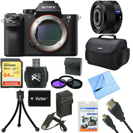 Sony a7R II Full-frame Mirrorless Interchangeable 42.4MP Camera Body 35mm Lens Bundle includes Camera, Sonnar T* FE 35mm Full Frame Lens, 49mm Filter Kit, 64GB Memory Card, Bag Tripod & Much