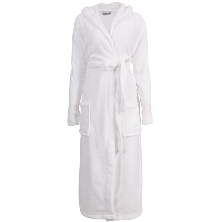 Men's Hotel Fleece Terry Pocketed Bathrobe Robe with Hood, -