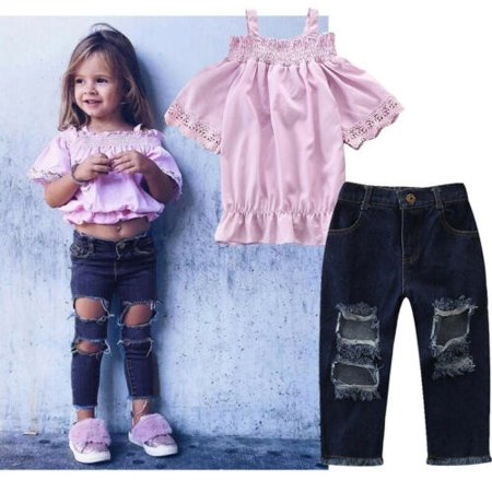 72b8a7261da37 Fashion Kids Baby Girls Flower Off Shoulder Tops +Jeans Pants Dress Outfit  Clothes Set