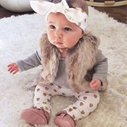 3pcs Newborn Infant Baby Girls Clothes T-shirt Tops+Pants Leggings+Headband Outfit Set