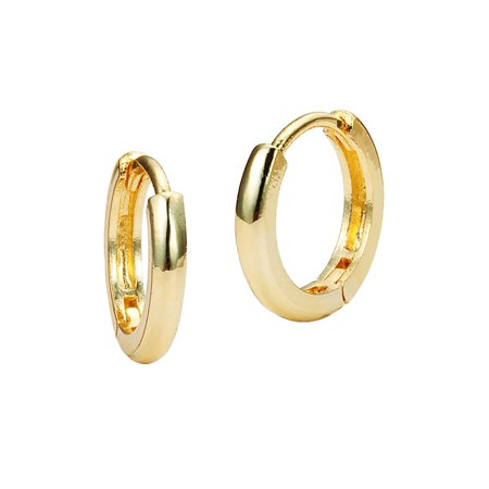 14k Yellow Gold Childrens Hoop (14k Yellow Gold Tiny Small 1mm Plain Huggie Children Baby Girls Hoop Earrings )