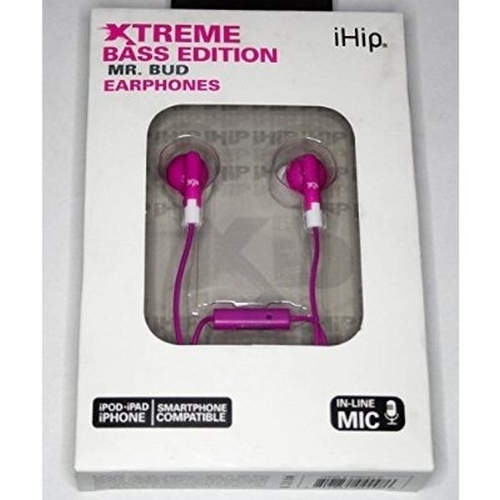 iHip Mr Bud Extreme Bass Edition Pink Earphones With In-line Mic