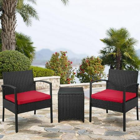 Palm Springs Outdoor 3 Piece Patio Rattan Wicker Style Furniture Conversation Set 2