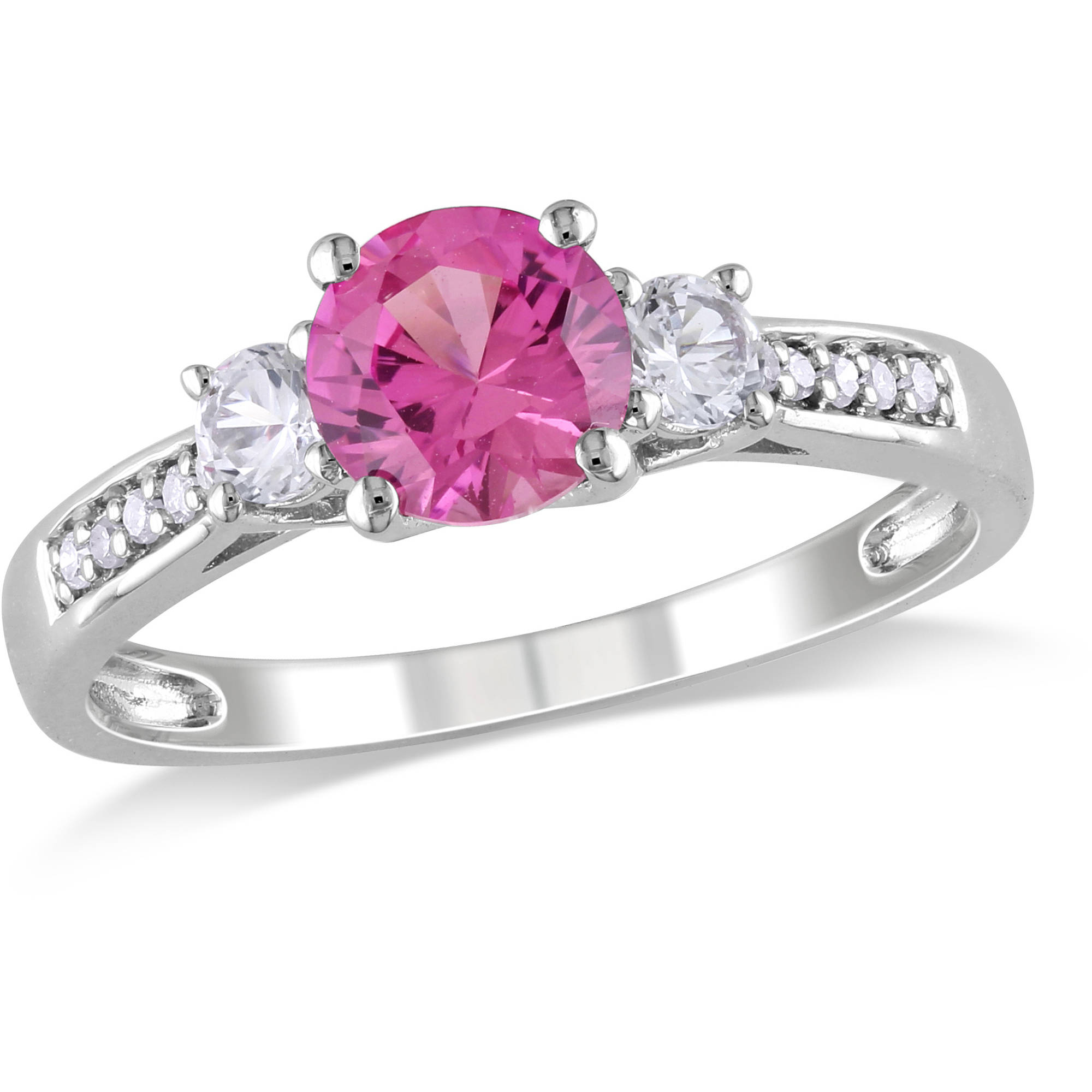 1-3 8 Carat T.G.W. Created Pink and White Sapphire and Diamond-Accent 10kt White Gold 3-Stone Ring by Delmar Manufacturing LLC