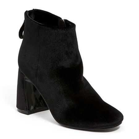 Ninety Union MARVELOUS-BLK-8 Velvet Ankle Bootie with Zipper & Wrapped Block Heel, Black - Size 8