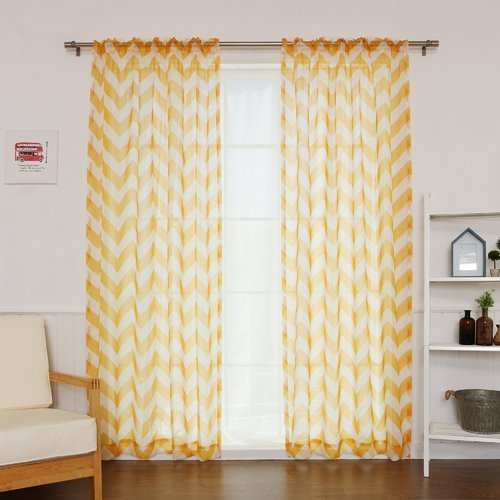 Best Home Fashion, Inc. Chevron Sheer Rod Pocket Single Curtain Panel