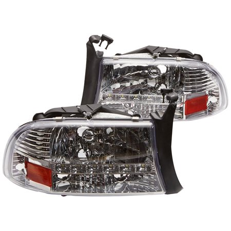 - Spec-D Tuning 2LH-DAK97-RS Dodge Dakota Durango Crystal Chrome Headlights W/ Led Drl Lamp