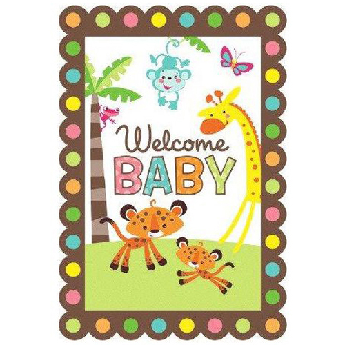 Amscan Fisher Price Baby Shower Folded Invitation (8 Pack) - Party Supplies