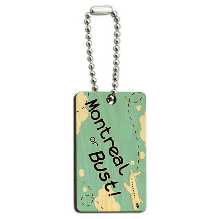Montreal or Bust - Flying Airplane Wood Rectangle Key Chain