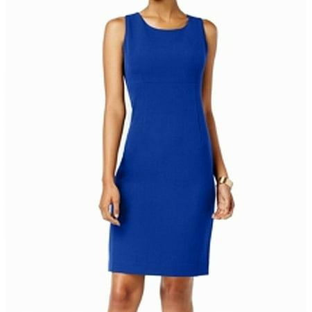 Kasper Cobalt Womens Scoop-Neck Crepe Sheath Dress