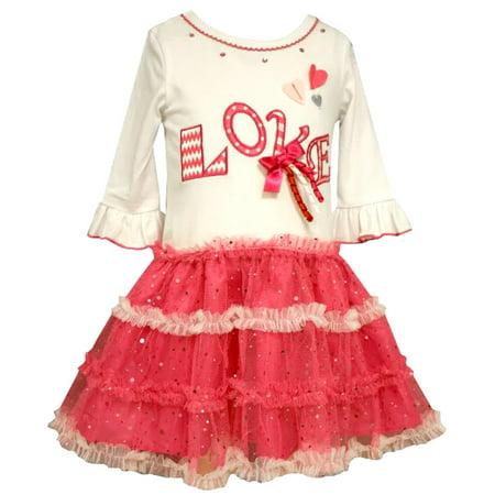Bonnie Jean Little Girls Love Tutu Valentines Day Dress 2T (Bonnie Jean Halloween Ghost Tutu Dress)
