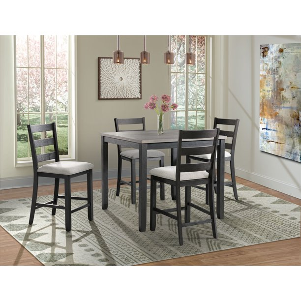 Picket House Furnishings Kona Gray 5 Piece Counter Height Dining Set Table Four Chairs Walmart Com Walmart Com