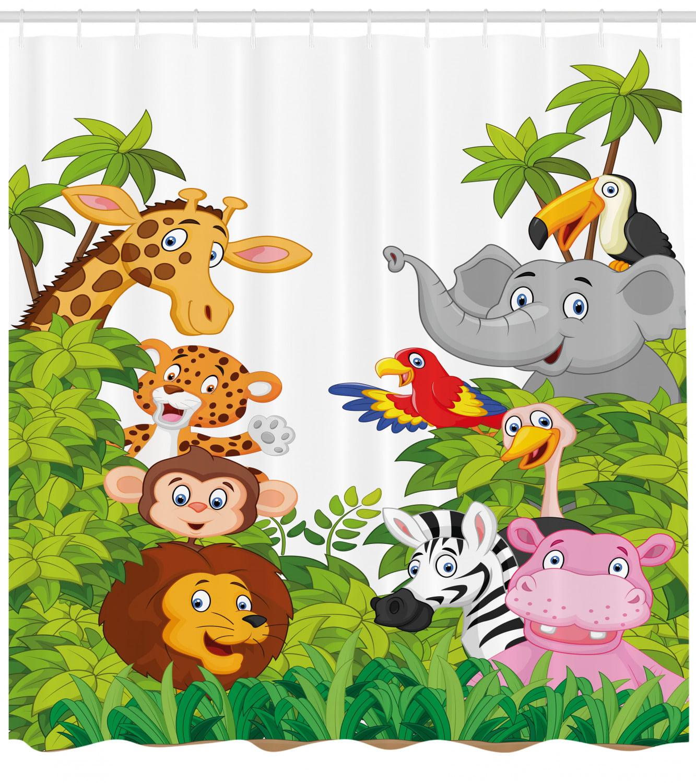 Nursery Shower Curtain Cartoon Style Zoo Animals Safari Jungle Mascots Tropical Forest Wildlife Pattern Fabric Bathroom Set With Hooks Multicolor By Ambesonne Walmart Com Walmart Com