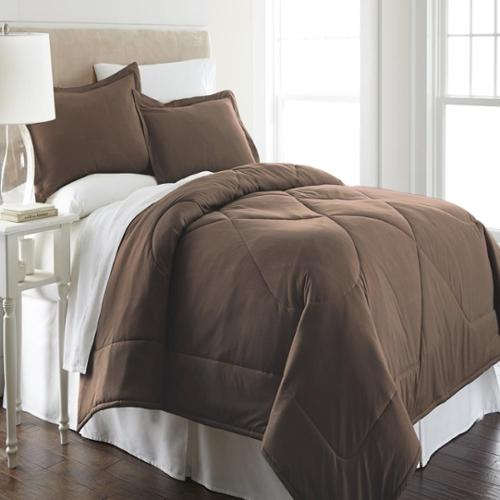 Micro Flannel  Solid Color 3-piece Comforter Set King - Greystone